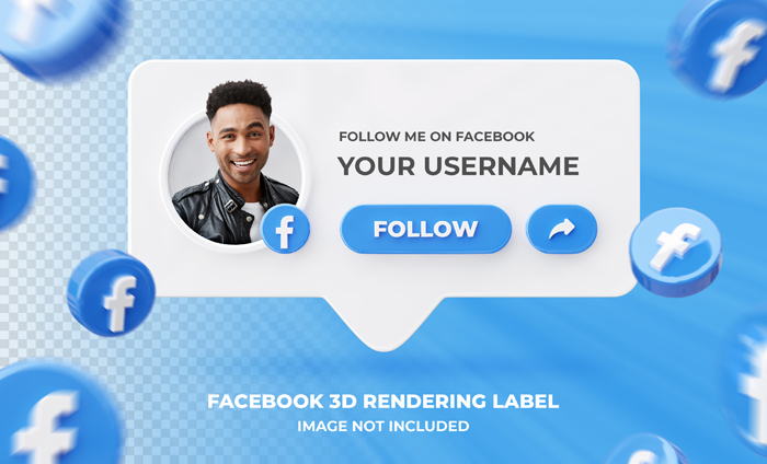 Banner Icon Profile Facebook 3D Rendering Label Template