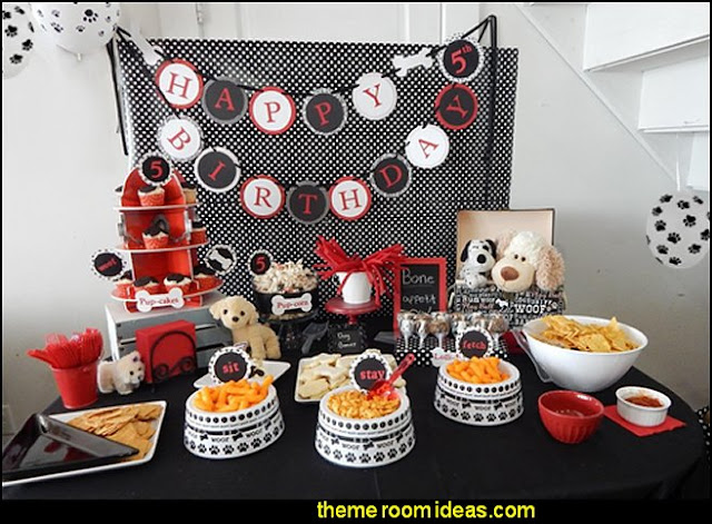 puppy themed birthday party -  kids dog theme birthday party - dog birthday party decorations - Puppy Birthday Party Supplies - pet party paw prints - dog bone shaped decorations - kids birthday pet theme party - furbabies birthday party - pooch party