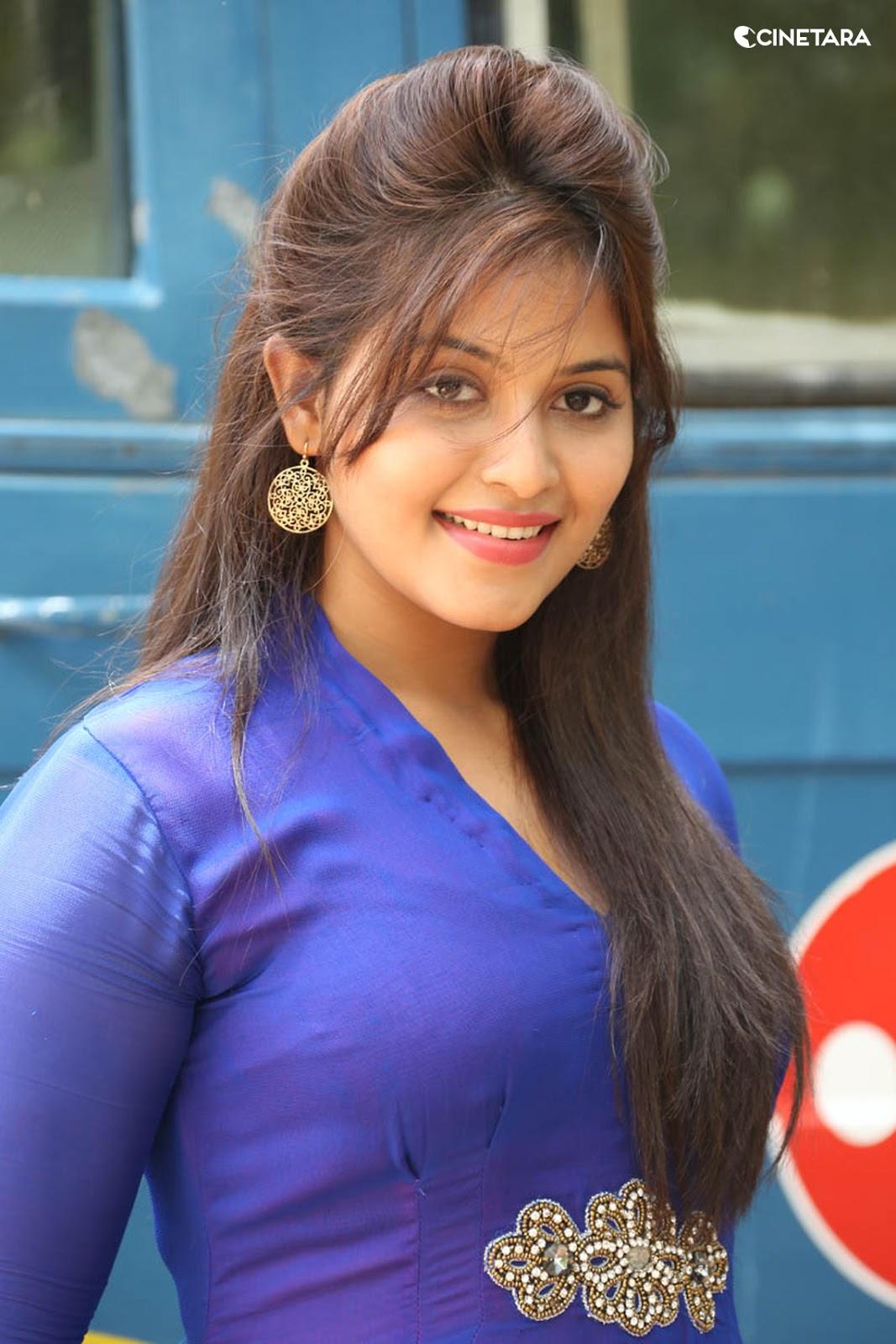 anjali desi actress anjali hot side view in blue dress ...