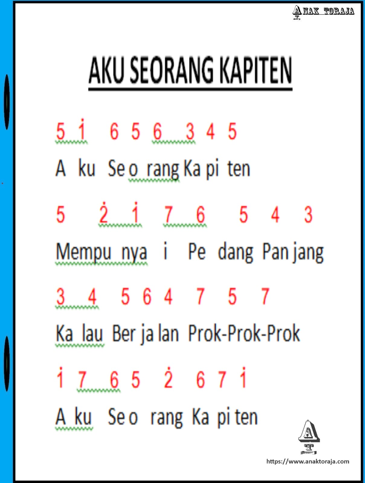 Lagu Anak Anak Not Angka : angka, Angka, Seorang, Kapiten, Anak-anak