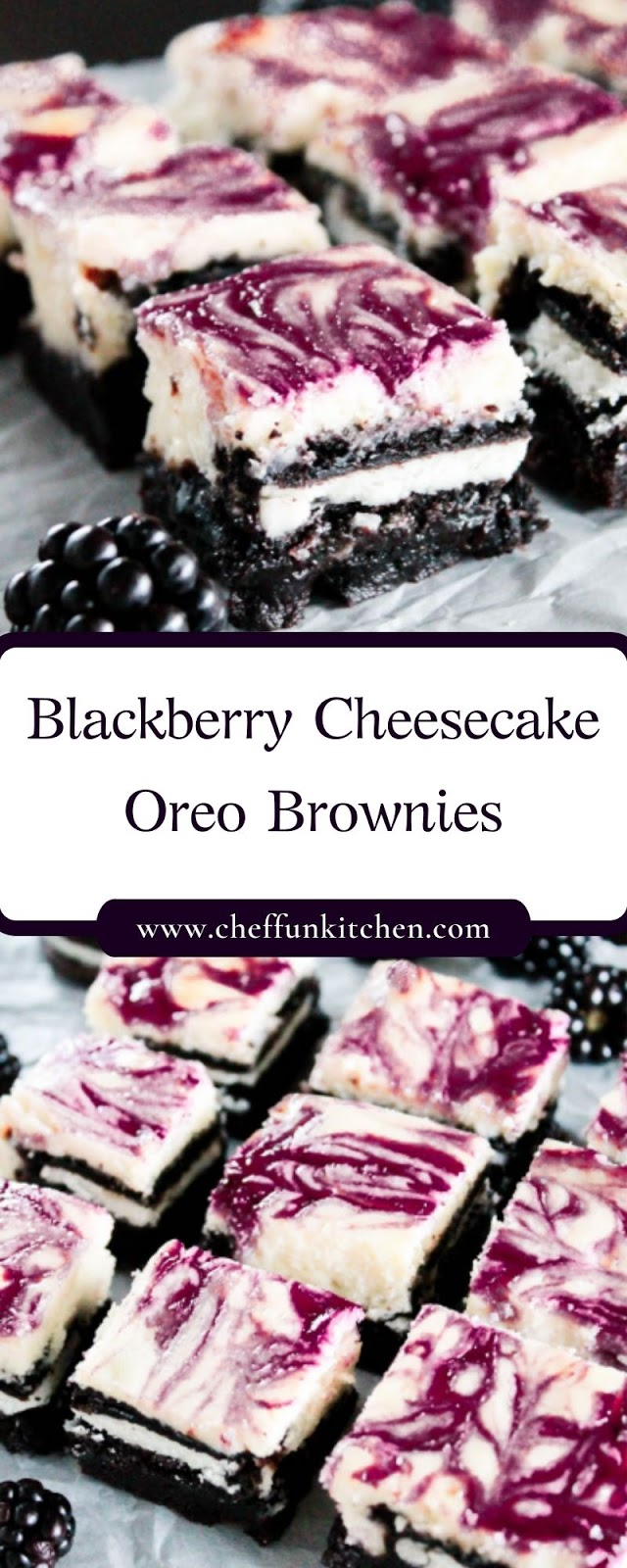 Blackberry Cheesecake Oreo Brownies