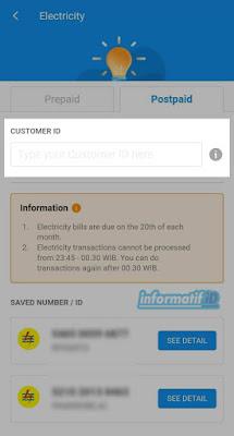 Bayar Listrik Pascabayar Dana - Masukan Nomor Pelanggan