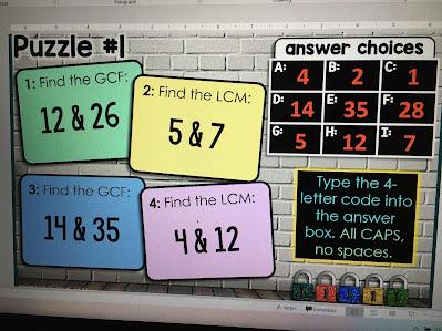 GCF and LCM Digital Math Escape Room