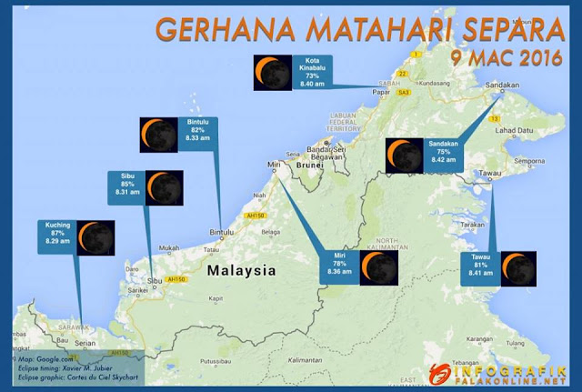 gerhana matahari, gerhana di malaysia, fenomena gerhana,