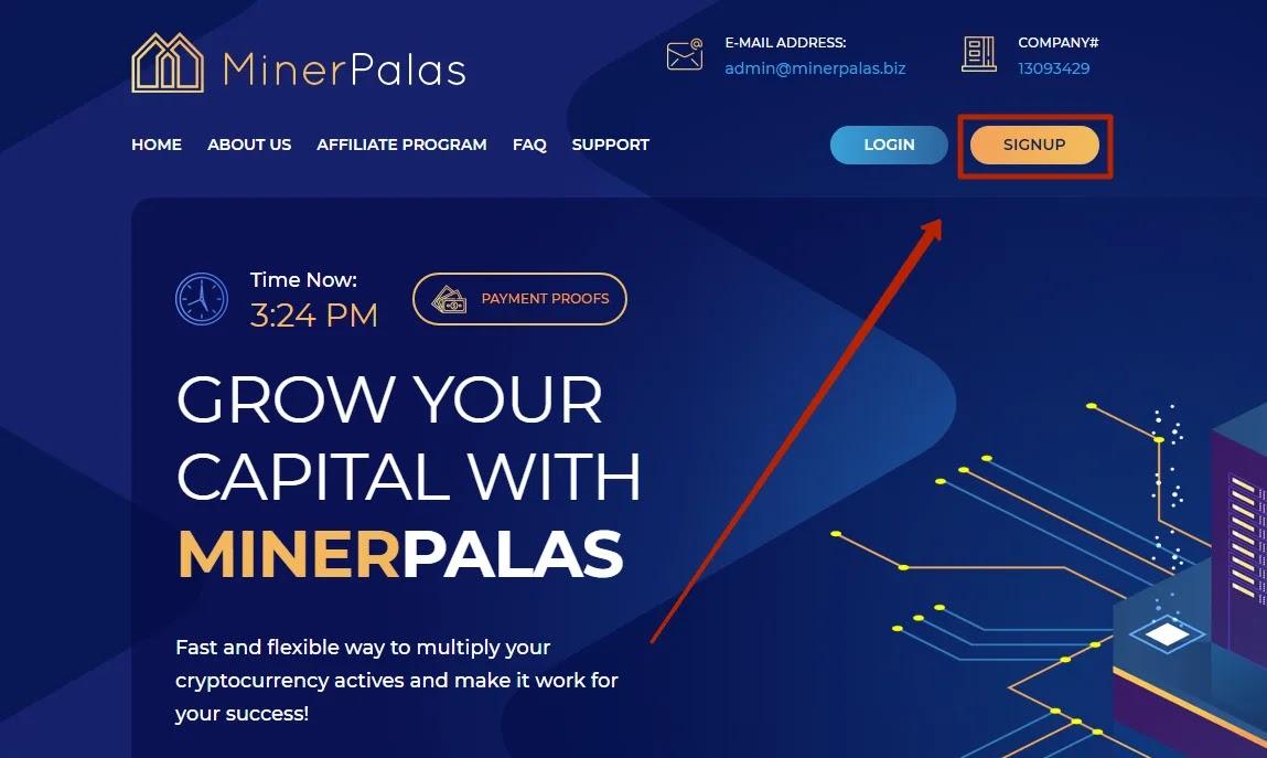Регистрация в MinerPalas