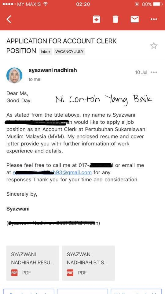 4 Contoh Cover Letter Email Yang Baik (BM & BI) ~ Wordless Wednesday