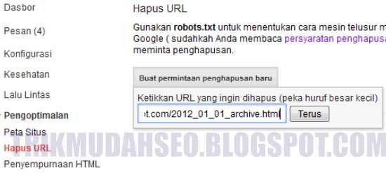 Masukkan URL duplikat konten yang ingin dihapus