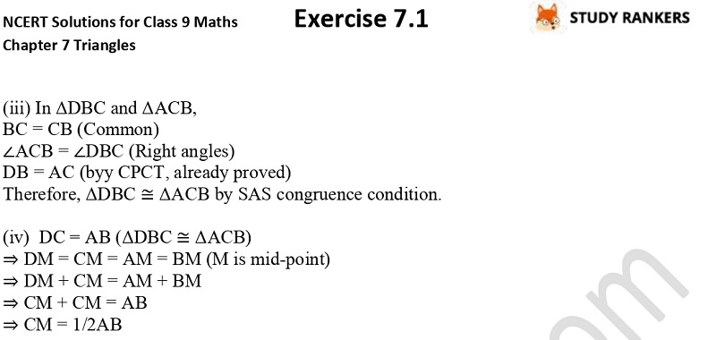 NCERT Solutions for Class 9 Maths Chapter 7 Triangles 7.1 Part 6