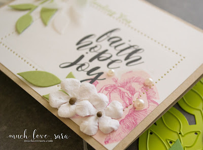 This soft and sweet handmade (DIY) card is perfect for any occasion.  Created using Fun Stampers Journey Hope Anchors, and Summer Rose Stamp Sets, as well as the Summer Branch Die | muchlovesara.com