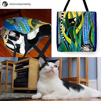 Oliver tuxedo cat with Cats of Karavella Totes