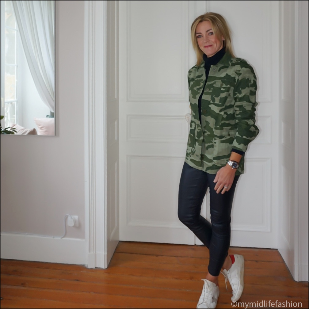 my midlife fashion, j crew garment dyed lightweight jacket in camouflage, marks and Spencer pure cashmere roll neck jumper, Uterque leather leggings, golden goose superstar low top leather trainers
