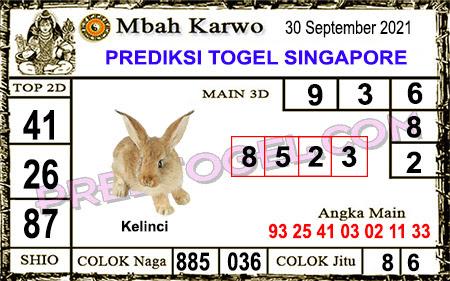 Prediksi Jitu Mbah Karwo SGP45 Kamis 30-09-2021