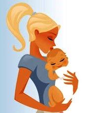 Dibujo de una madre cargando a su bebé a colores