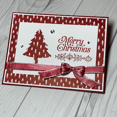 Pine Tree Christmas Card using Stampin' Up! Perfectly Plaid Stamp Set