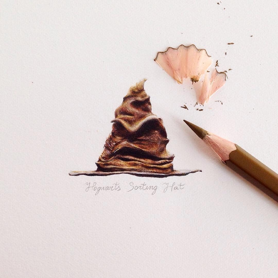 04-The-Sorting-Hat-from-Harry-Potter-Claudia-Maccechini-Miniature-Tiny-Drawings-www-designstack-co