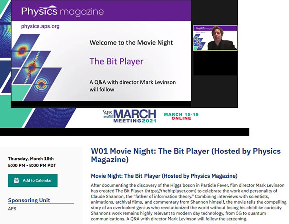 """The documentary """"The Bit Player"""" premier at March APS"""