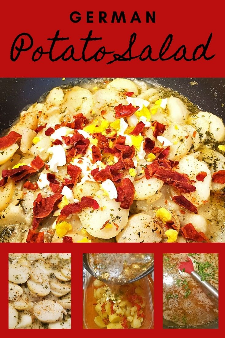 this is a pin for later of German Potato Salad recipe in a collage