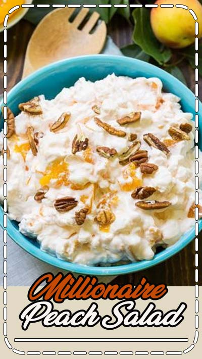 Millionaire Peach Salad (Peach Fluff) is one of those delicious Cool Whip concoctions that's really more like a dessert than a salad. It's full of peaches, marshmallows, and pecans and makes a great potluck recipe