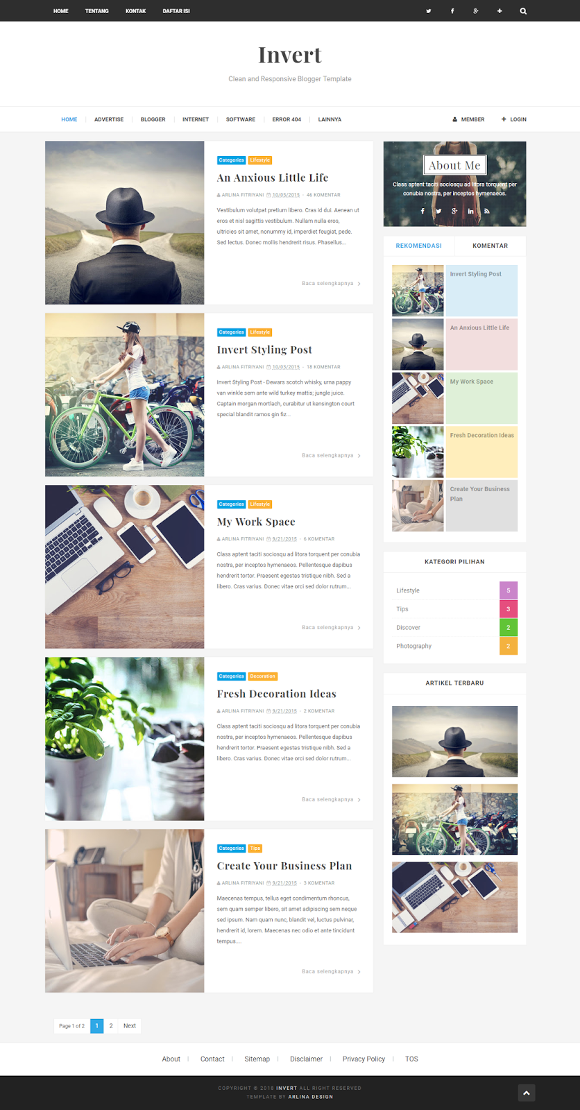 Invert Responsive and SEO Friendly Blogger Template - Zona Template