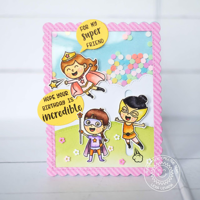 Sunny Studio Stamps: Super Duper Fluffy Clouds Border Frilly Frames Comic Strip Speech Bubbles Dies Super Hero Themed Shaker Card by Lexa Levana