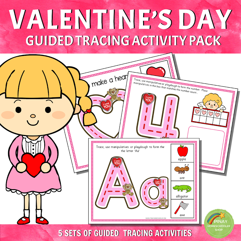 Valentines Day Guided Tracing Activity Pack