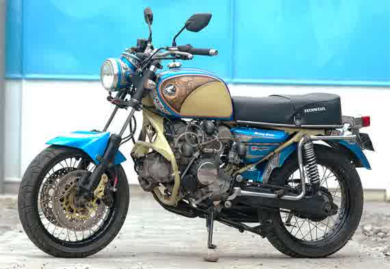 Honda Tiger Modifikasi Honda CB Blue Vintage