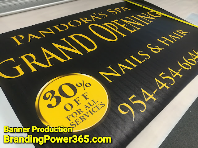 Large Vinyl Banner Printed for Pandora's Spa; Hair and Nails Business in Hallandale Florida. Design and Printed by Richard John for BrandingPower365.com