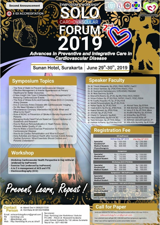 "Symposium and Workshop : ""2nd Solo Cardiovascular Forum 2019 :  Advances in Preventive and Integrative Care in Cardiovascular Disease"" June 29-30th 2019 SOLO"