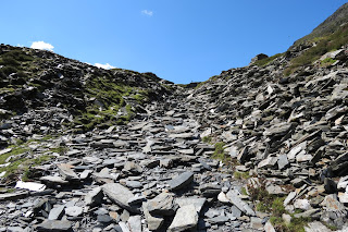 Shattered slate, with a path leading through two higher mounds of it.