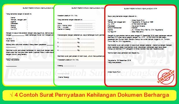 4 Contoh Surat Pernyataan Kehilangan Dokumen Berharga