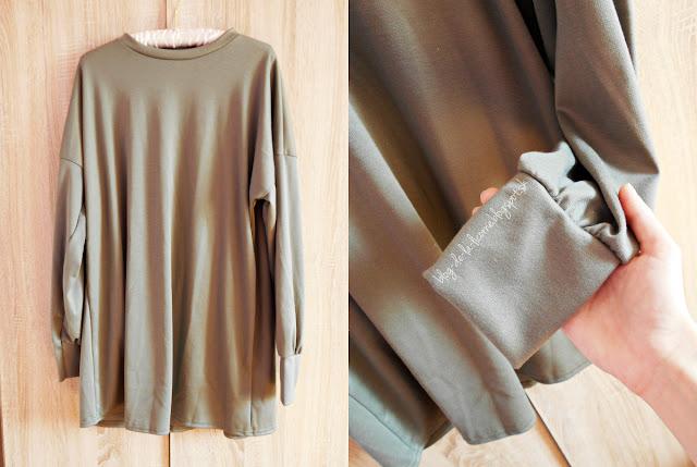 Femme Luxe Khaki Oversized Sweater Mini Dress