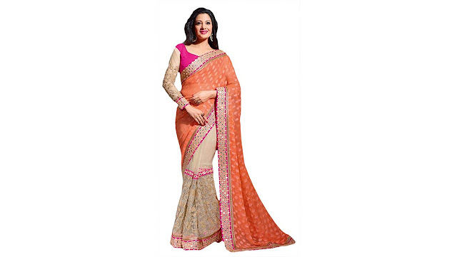 M.S.Retail Embroidered Bollywood Brasso, Net Saree  (Multicolor)