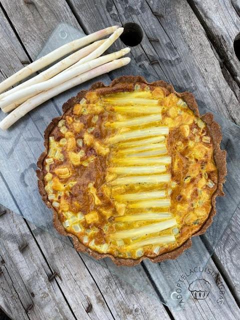 Tarte asperges poulet curry - Recette facile - IG bas