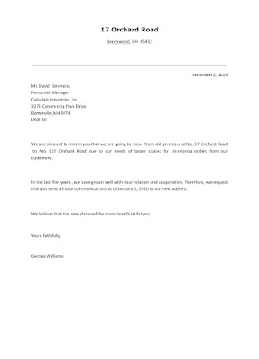 A Circular Letter Announcing The Change Of Address