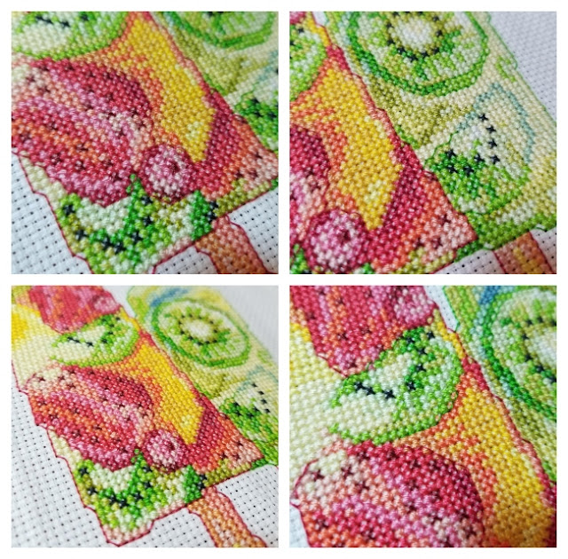 Mini Fruity Popsicles Cross Stitch Up Close
