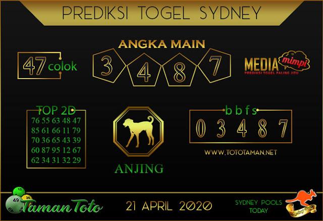Prediksi Togel SYDNEY TAMAN TOTO 21 APRIL 2020