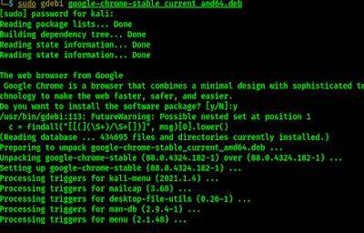 Google chrome installed on Kali Linux