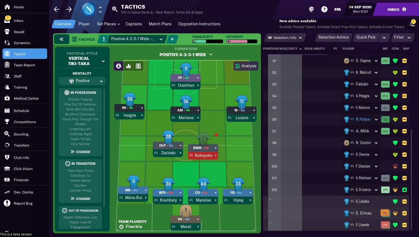 FM21 Napoli Tactic - Formation