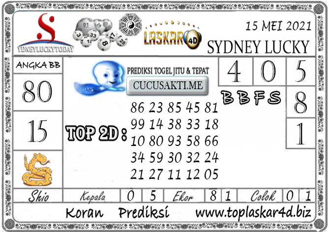 Prediksi Togel Sydney Lucky Today LASKAR4D 15 MEI 2021