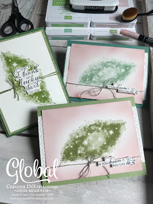By Angie McKenzie for Global Creative Inkspirations; Click READ or VISIT to go to my blog for details! Featuring the retired Stargazing stamp set from the 2019-20 Annual Catalog; #stargazingstampset #fussycutting #greeneryembossingfolders #inkblending #stampingtechniques #cardtechniques #stampinup #handmadecards #stampinupinks #oldworldpaper3dembossingfolder #linenthread #friendshipcards #ifyoudreamityoucandoit