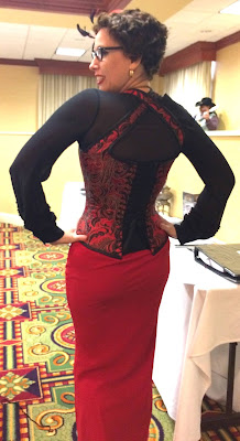 Gail Carriger in Steampunk Pinup Red & Black Corset at Teslacon