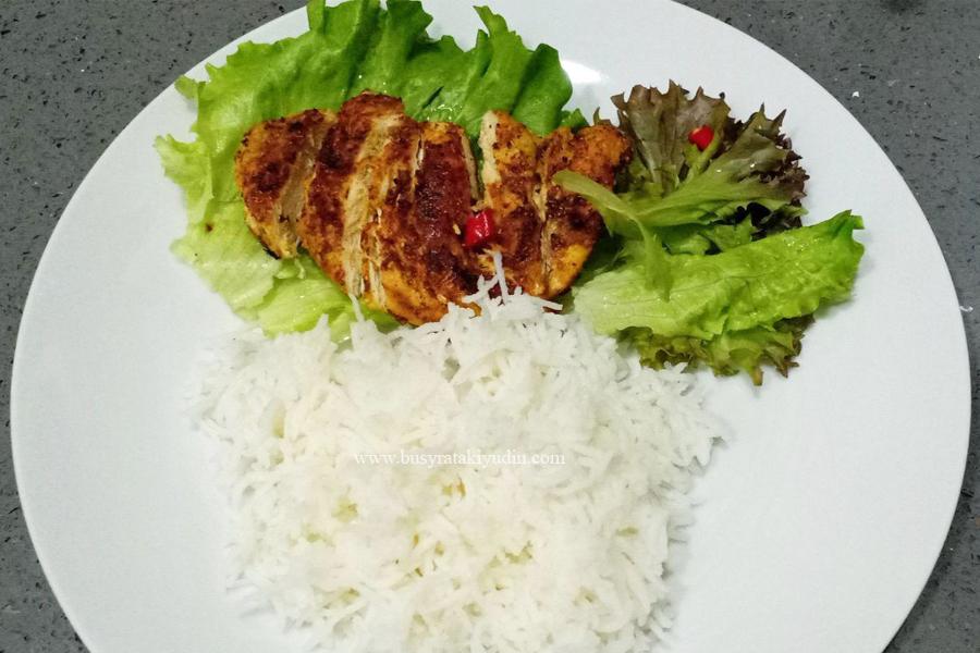 ayam bakar sihat, menu ayam bakar, ayam bakar air fryer, ayam bakar diet,