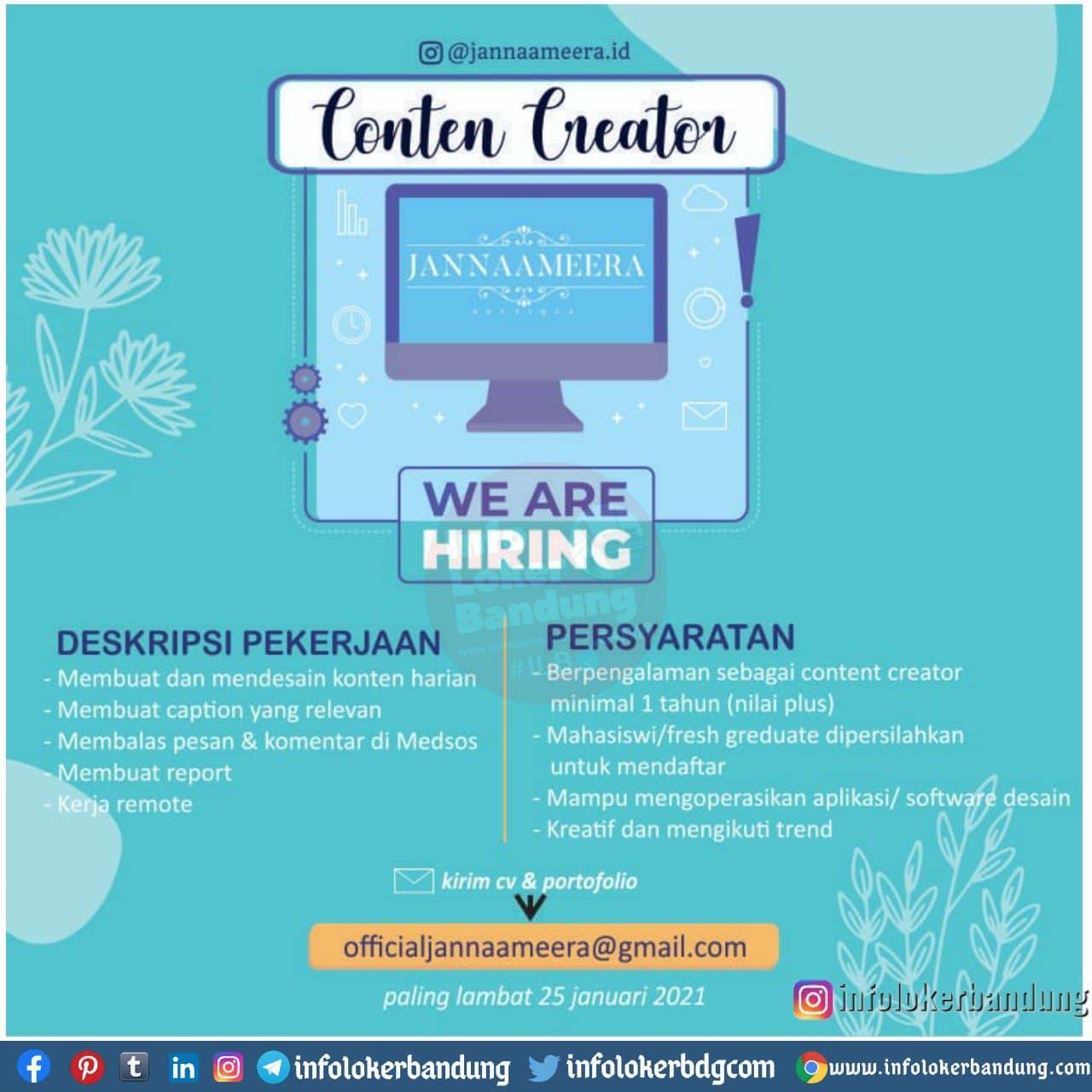 Lowongan Kerja Jannaameera Bandung Januari 2021