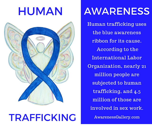 Human Trafficking Awareness Blue Ribbon Angel Information Picture