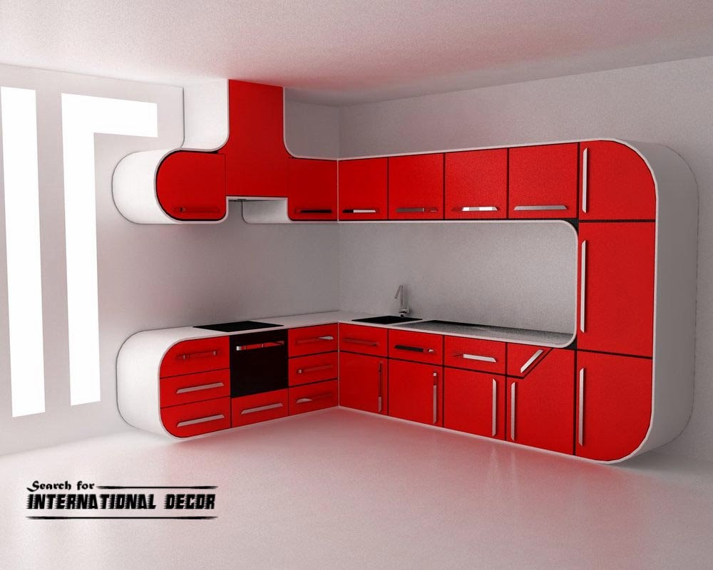 futuristic red kitchen in high-tech style