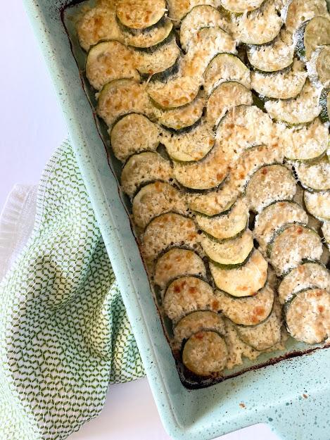 Scalloped Parmesan Zucchini Bake #sweetsavoryeats #zucchinibake