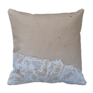 Sand on sea shore throw pillow