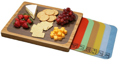 Bamboo Cutting Board with 7 Color-Coded Removable Cutting Mats