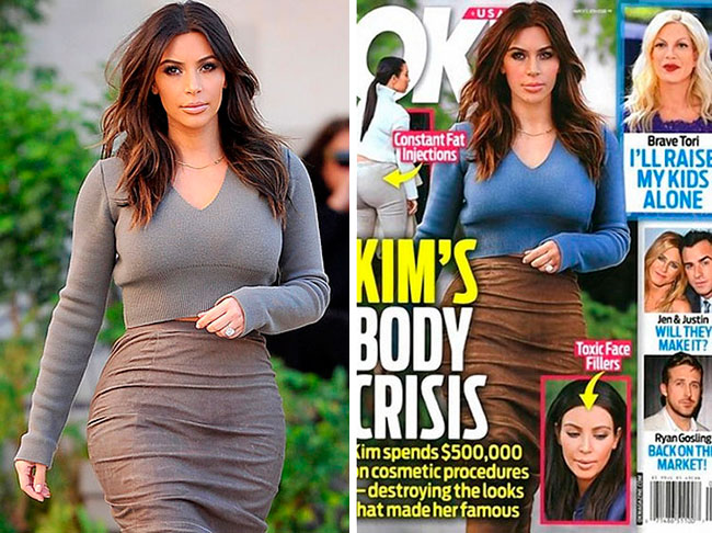 Kim Kardashian OK! Magazine Before and After
