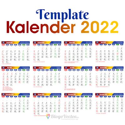 Template Kalender 2022 Logo Vector